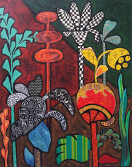 Flowers 3 by Sheetal Singh, Decorative Painting, Mixed Media on Canvas, Brown color