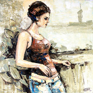 Modern art (Beautiful Girl) by gurdish pannu, Expressionism Painting, Acrylic on Canvas, Beige color
