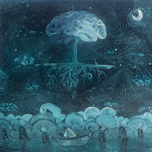 Genesis by Vasundhara Anand, Surrealism Printmaking, Etching & Serigraph, Green color