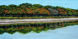 Joggers Path by Usha Shantharam, Impressionism Painting, Acrylic on Canvas, Green color