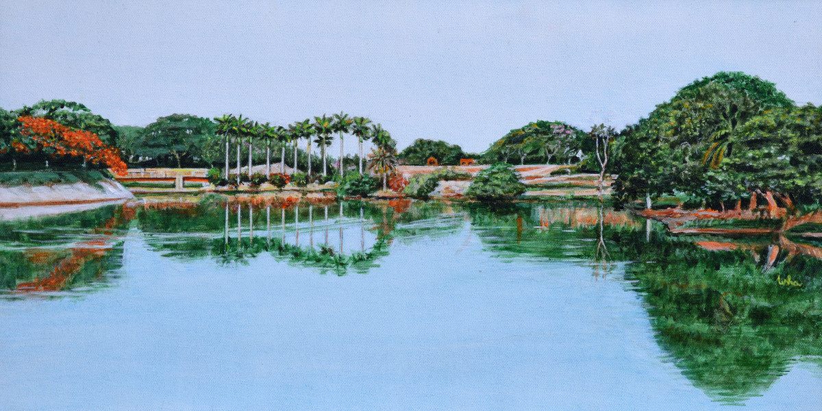 Lakeview Reflections by Usha Shantharam, Impressionism Painting, Acrylic on Canvas, Cyan color