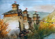 Temples In The Himalayas by Krishnendu Chatterjee, Impressionism Painting, Watercolor on Paper, Brown color