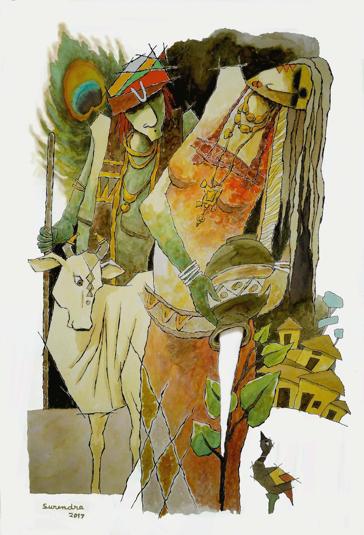 krishna by Surendra Pal Singh, Decorative Painting, Watercolor on Paper, Beige color