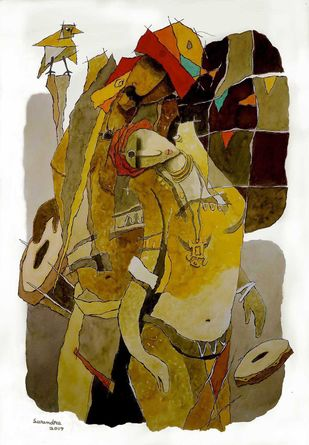 untitled by Surendra Pal Singh, Expressionism Painting, Watercolor on Paper, Brown color