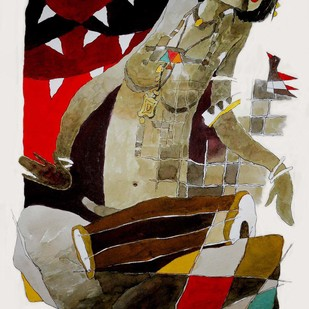 untitled by Surendra Pal Singh, Decorative Painting, Watercolor on Paper, Brown color