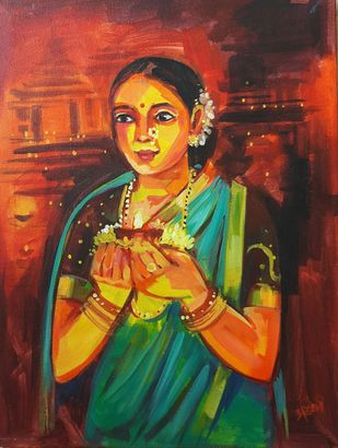 Diwali by Arundhati Dhumale, Expressionism Painting, Acrylic on Canvas, Brown color