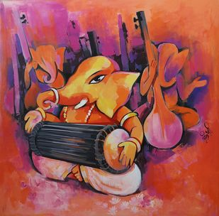 Soorpati Ganapati by Arundhati Dhumale, Decorative Painting, Acrylic on Canvas, Brown color