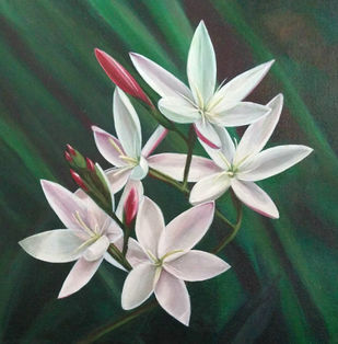 White flowers by Gauri Ranade Dixit, Realism Painting, Acrylic on Canvas, Green color