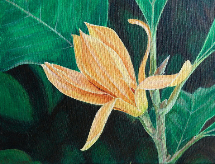 Golden Champa by Gauri Ranade Dixit, Realism Painting, Acrylic on Board, Green color