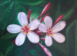 White Plumeria Digital Print by Gauri Ranade Dixit,Realism
