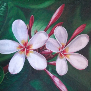 White Plumeria by Gauri Ranade Dixit, Realism Painting, Acrylic on Canvas, Green color