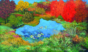 Pond Side by Surya Prakash, Impressionism Painting, Acrylic on Canvas, Green color