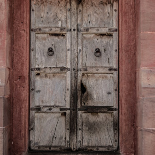 Rajasthani Door by Uday Tadphale, Image Photography, Digital Print on Canvas, Brown color