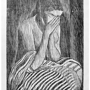 Untitled by D K Biswas, Expressionism Printmaking, Print on Paper, Gray color