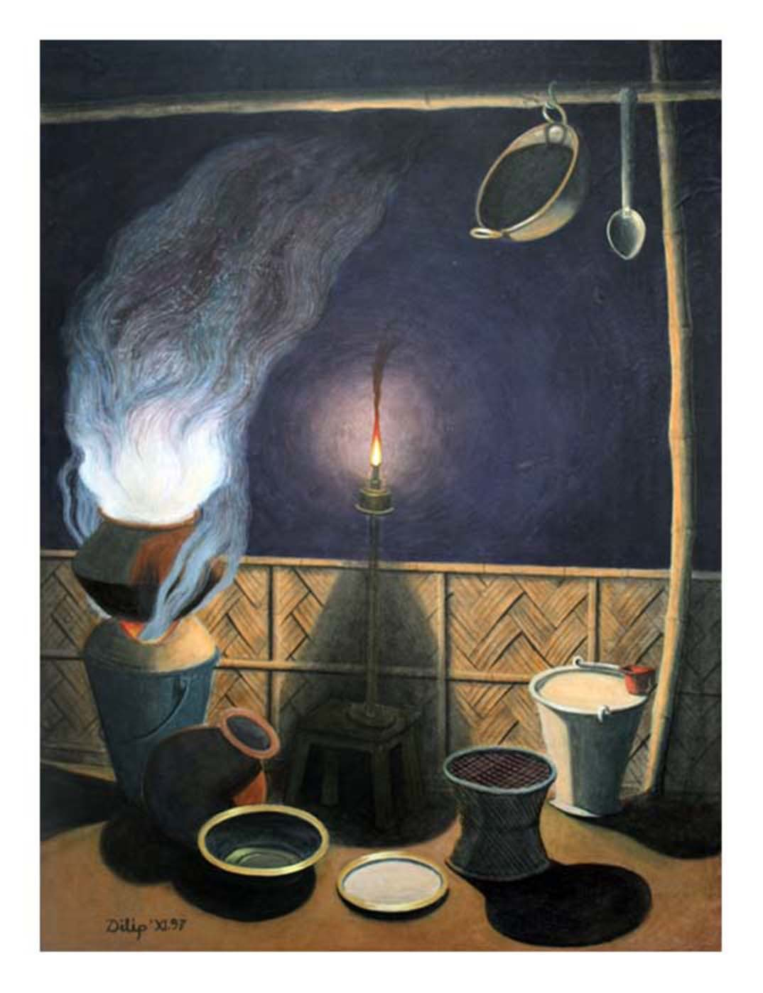 Waiting for cook by D K Biswas, Realism Painting, Tempera on Paper, Gray color