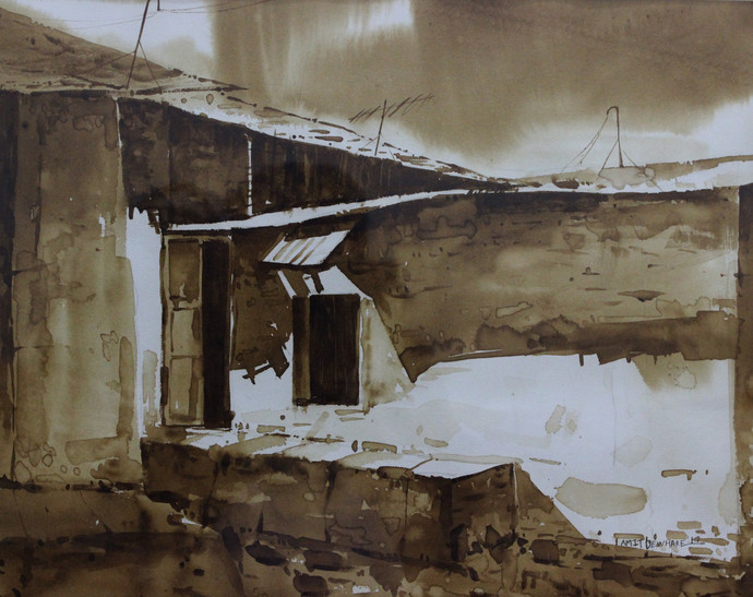 Door_I (Coffee Painting) by Amit Dewhare, Impressionism Painting, Water Based Medium on Paper, Brown color