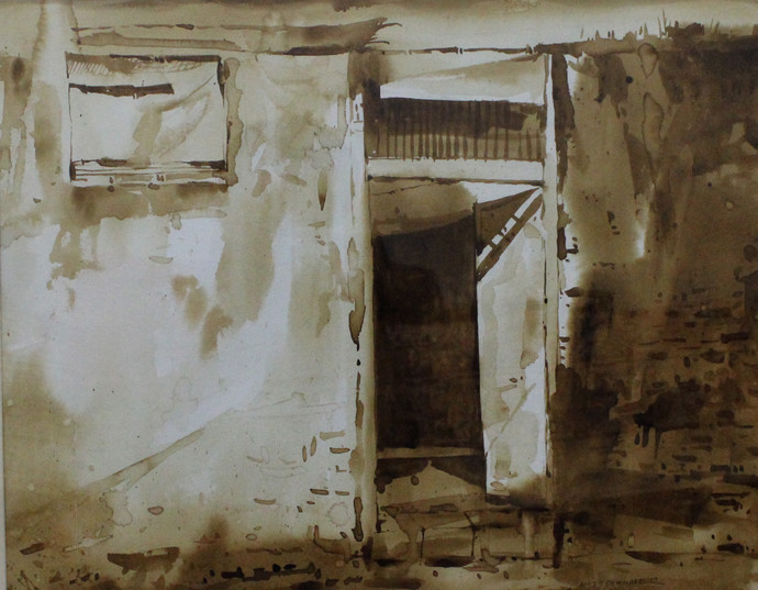 Door- (Coffee painting) by Amit Dewhare, Impressionism Painting, Water Based Medium on Paper, Brown color