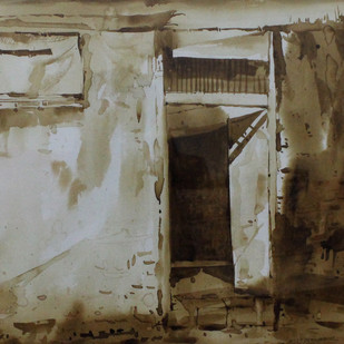 Door- (Coffee painting) Digital Print by Amit Dewhare,Impressionism