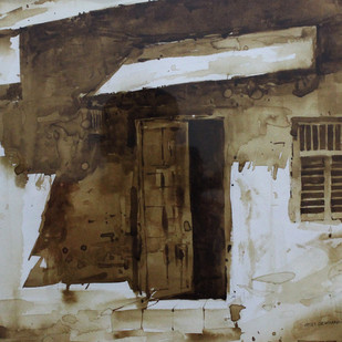 Door-II (Coffee Painting) by Amit Dewhare, Impressionism Painting, Water Based Medium on Paper, Brown color