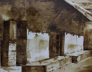 Door-III (Coffee Painting) Digital Print by Amit Dewhare,Impressionism