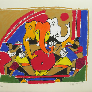 Ganesh by M F Husain, Expressionism Printmaking, Serigraph on Paper, Beige color