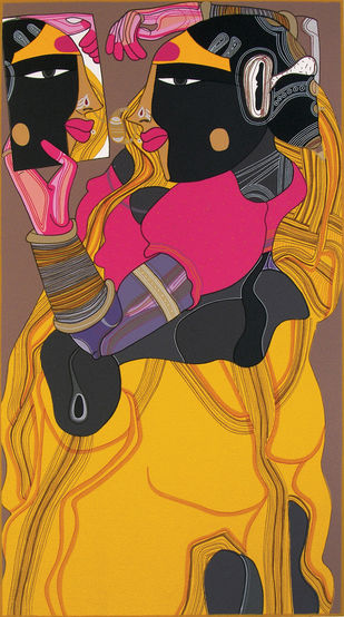 Untitled by Thota Vaikuntam, Traditional Printmaking, Serigraph on Paper, Brown color
