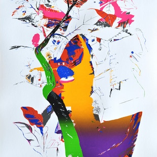 Speaking Sparrows by Nabibaksh Mansoori, Expressionism Printmaking, Serigraph on Paper, Cyan color