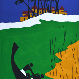 Folklore Kerala - VIII by M F Husain, Impressionism Printmaking, Serigraph on Paper, Green color