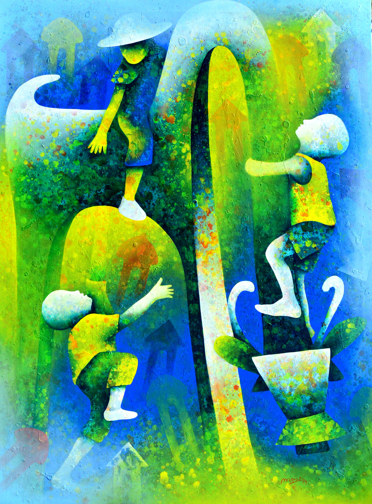 athkheliya by Lakhan Singh Jat, Expressionism Painting, Acrylic on Canvas, Green color