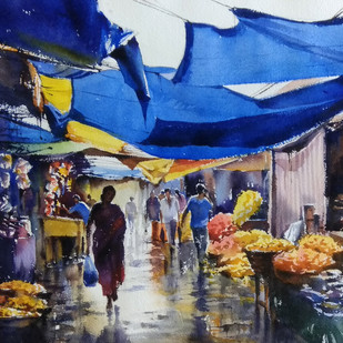 Wet Market by Sunil Linus De, Impressionism Painting, Watercolor on Paper, Blue color