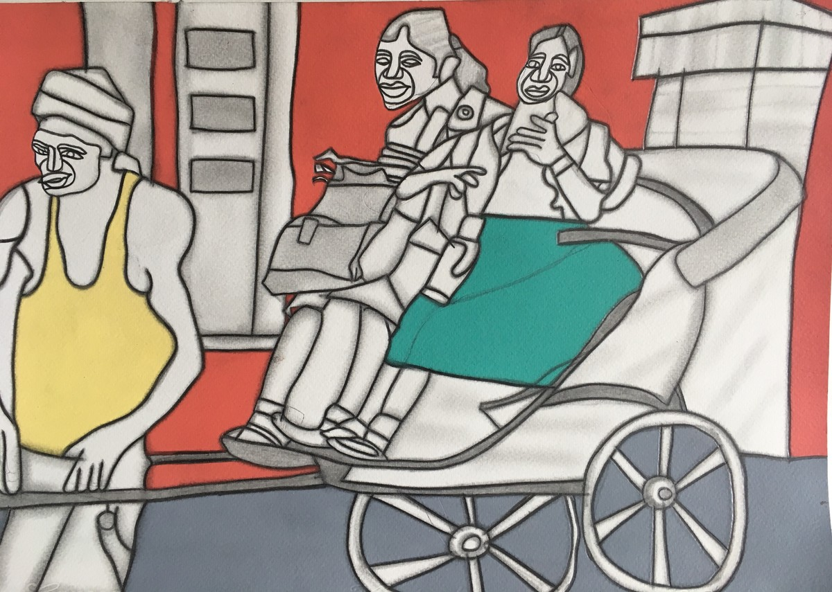 Aao School Chalein by Amrit Khurana, Expressionism Painting, Acrylic on Paper, Brown color