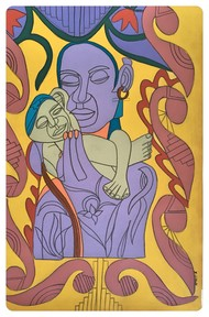 Safe in your Arms by Amrit Khurana, Expressionism Painting, Acrylic on Paper, Brown color