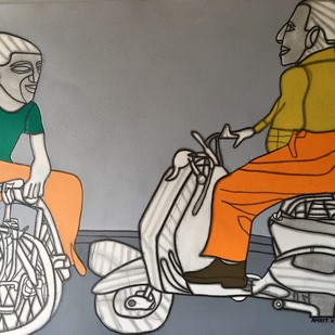 Baatein Kuch Ankahee Si by Amrit Khurana, Expressionism Painting, Acrylic on Paper, Beige color