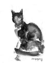 Cat 70 by Ganapathy Subramaniam, Illustration Painting, Ink on Paper, White color