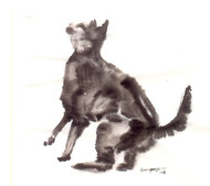Cat 82 by Ganapathy Subramaniam, Illustration Painting, Ink on Paper, White color