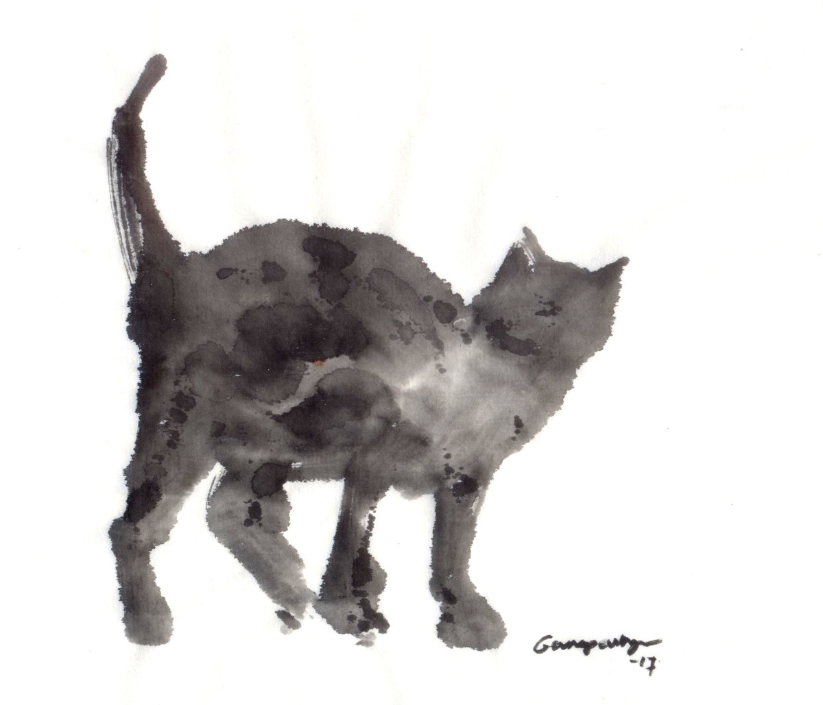 Cat 89 by Ganapathy Subramaniam, Illustration Painting, Ink on Paper, White color