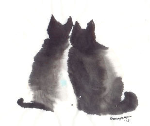 Cat 92 by Ganapathy Subramaniam, Illustration Painting, Ink on Board, Gray color