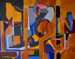 Composition 48 by Ganapathy Subramaniam, Abstract Painting, Acrylic on Canvas, Brown color