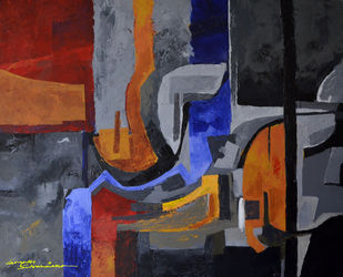 Composition 50 by Ganapathy Subramaniam, Abstract Painting, Acrylic on Canvas, Brown color