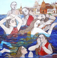 Holy Bath by Jayshree P Malimath, Traditional Painting, Acrylic on Canvas, Brown color