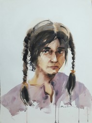 Life 14 by Abak Kundu, Expressionism Painting, Watercolor on Paper, Gray color