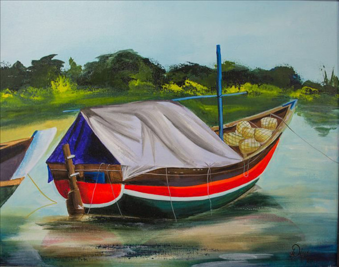 Boats-2 by Deepali Gurjal, Impressionism Painting, Acrylic on Canvas, Green color