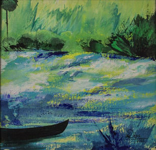 Abstract 1 by Deepali Gurjal, Impressionism Painting, Acrylic on Canvas, Green color