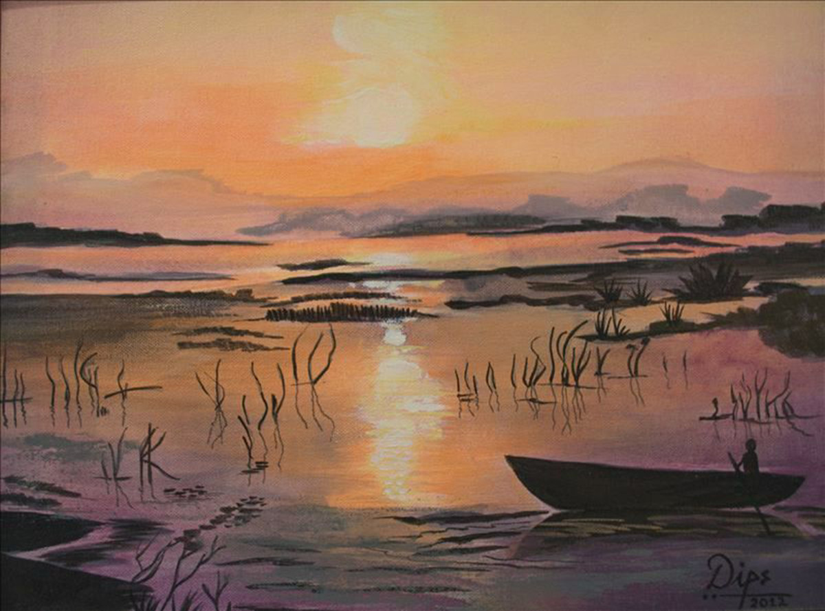 Sunset 1 by Deepali Gurjal, Impressionism Painting, Acrylic on Canvas, Brown color
