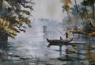 Life along river 6 by Mopasang Valath, Impressionism Painting, Watercolor on Paper, Gray color