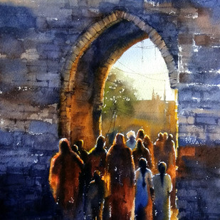 untittled by Sunil Linus De, Impressionism Painting, Watercolor on Paper, Blue color