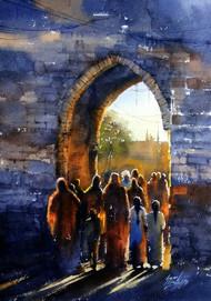 untittled by Sunil Linus De, Impressionism Painting, Watercolor on Paper, Blue color