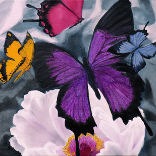 Flower with butterflies 3 by Sulakshana Dharmadhikari, Impressionism Painting, Oil on Canvas, Pink color