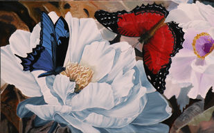 Flower with butterflies 4 by Sulakshana Dharmadhikari, Impressionism Painting, Oil on Canvas, Brown color