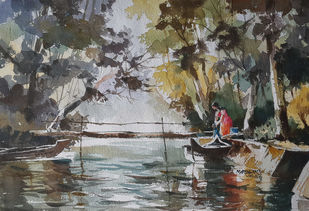 Life along river 7 by Mopasang Valath, Impressionism Painting, Watercolor on Paper, Gray color